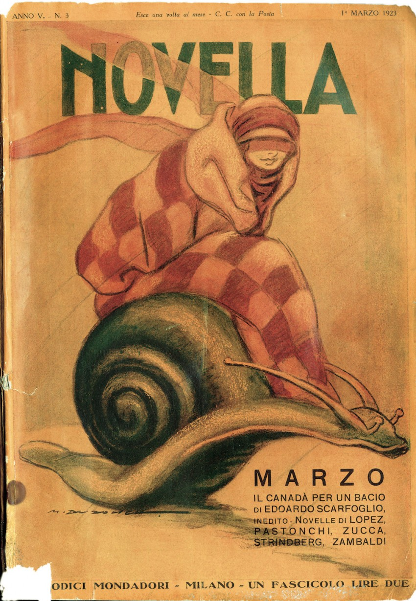 """Cover of the monthly magazine """"Novella"""" published by Periodici Mondadori. Woman sitting on a snail. Italy, 1st March 1923"""