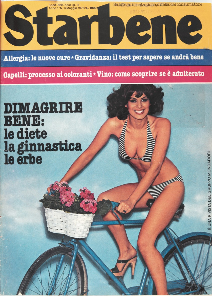 Cover number 1 of the magazine 'Starbene' with a woman in bikini riding a bicycle. May 1978