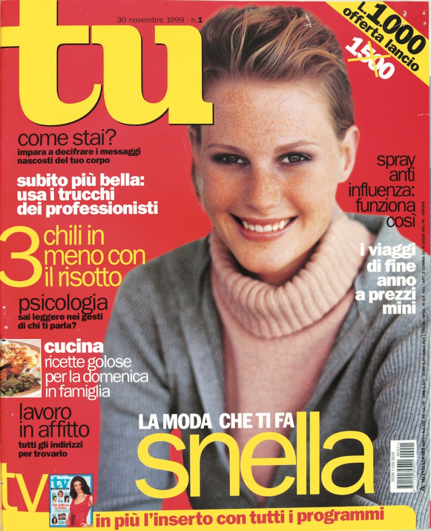 Cover number 1 of the magazine Tu with a girl wearing a polo neck. 30th November 1999