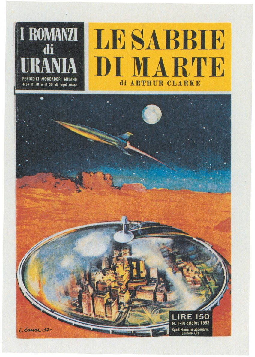 Cover of the first novel from the book series I Romanzi di Urania: The Sands of Mars by Arthur Clarke. Italy, 10th October 1952 Image licensed under CC BY-SA 4.0