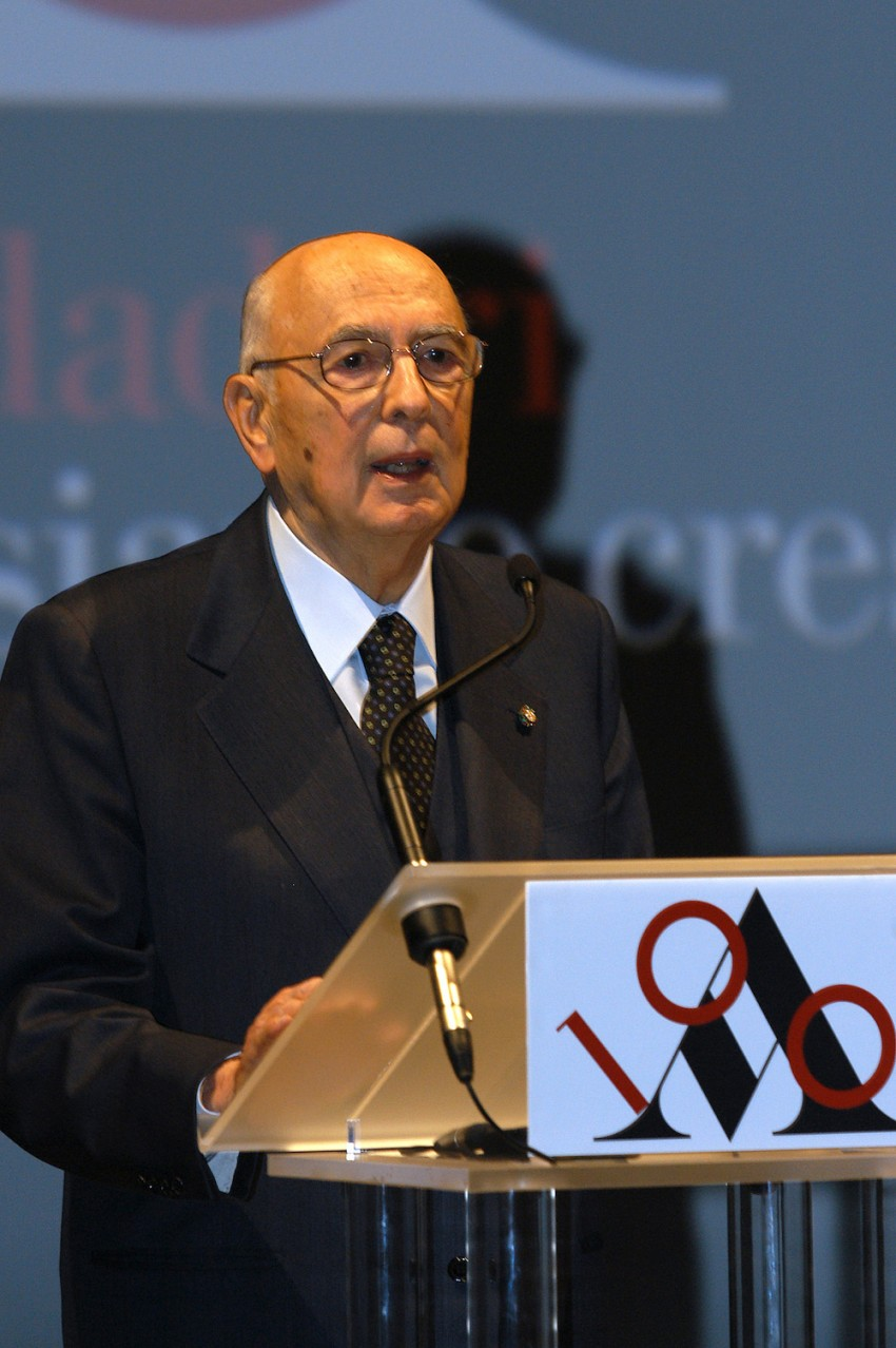 The President of the Italian Republic Giorgio Napolitano visits Mondadori on the occasion of the centenary of the publishing house