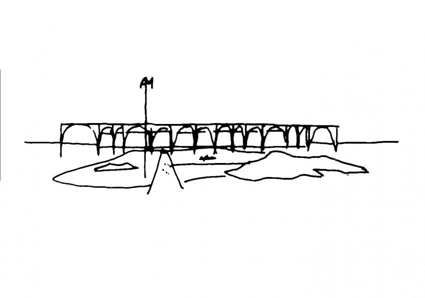 Sketch of the headquarters by Oscar Niemeyer