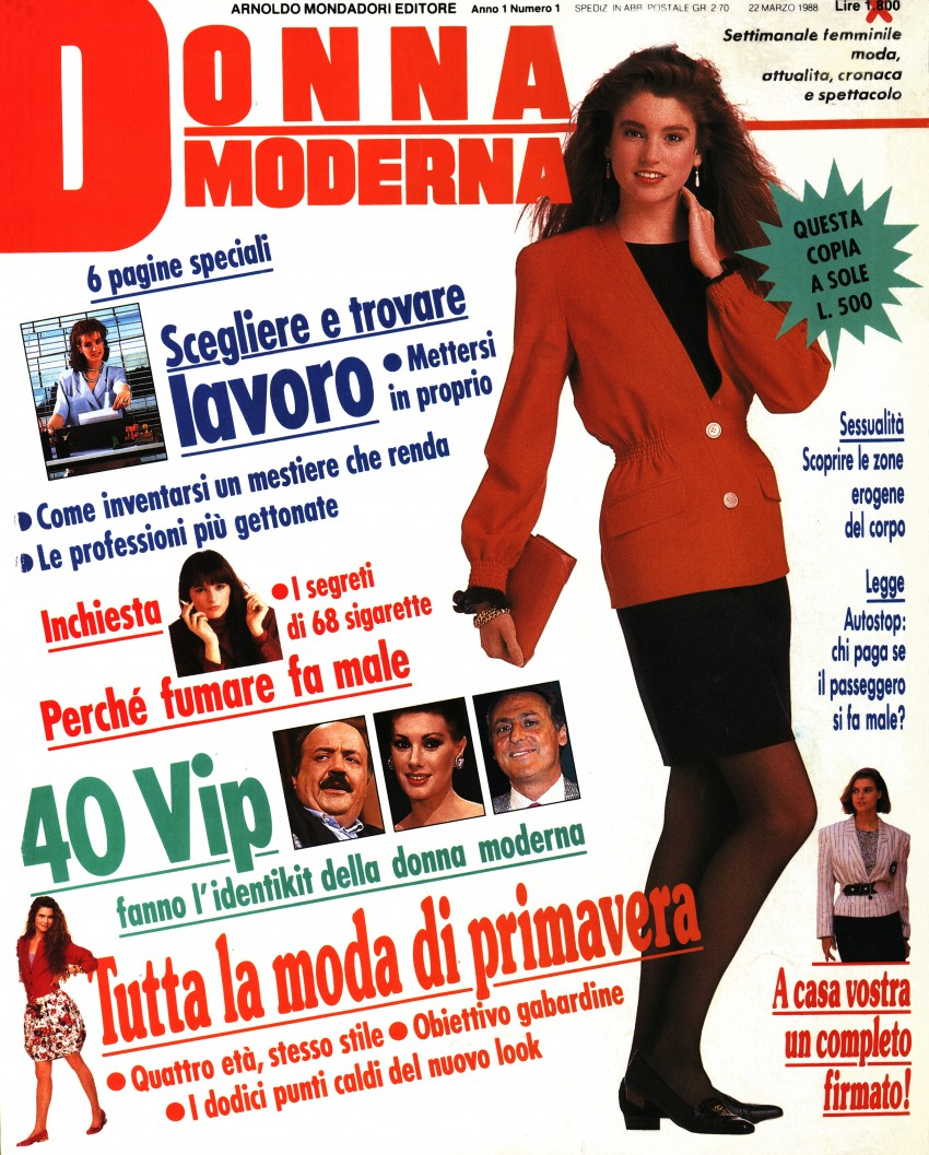 Cover of the first issue of Donna Moderna (22 March 1988)